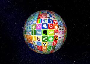 Jordglov med sociala medier ikoner